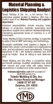 Display ad for: Toledo Mold and Die