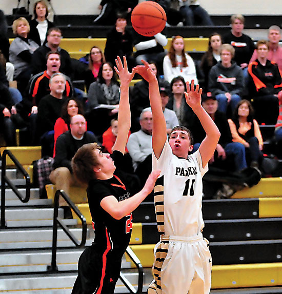Parkway's Brandon Gibson tries a jumper during the Panthers' 42-40 loss to Coldwater on Friday night. Parkway had two chances on their final possession while trailing by a bucket, but were unable to convert before time expired. (Times Bulletin/Pat Agler)