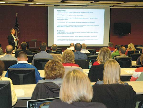 A group of educators and local businesspeople met at Vantage Career Center to discuss teaming high school students and recent graduates with local businesses. (Times Bulletin/Ed Gebert)