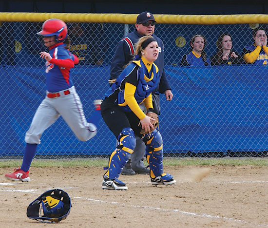 Lincolnview catcher Julia Thatcher awaits a throw toward the plate in this file photo. Thatcher homered in the Lady Lancers' loss to Celina on Saturday. (TB file photo)