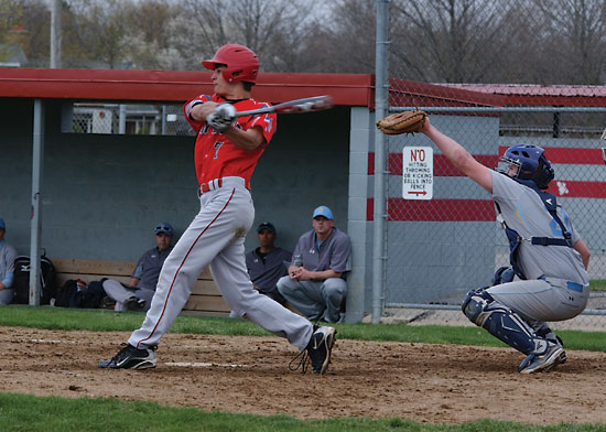 Ryan Stoller takes a swing and grounds a ball to the left side during Van Wert's 3-2 loss to Bath on Tuesday evening. Stoller went 0-for-3 in the game. (Times Bulletin/Tina Eley)