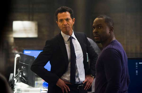 "This image released by Fox shows Benjamin Bratt, left, and Gbenga Akinnagbe in a scene from ""24: Live Another Day,"" premiering Monday, May 5 at 8 p.m. EDT on Fox. (AP Photo/Fox, Christopher Raphael)"