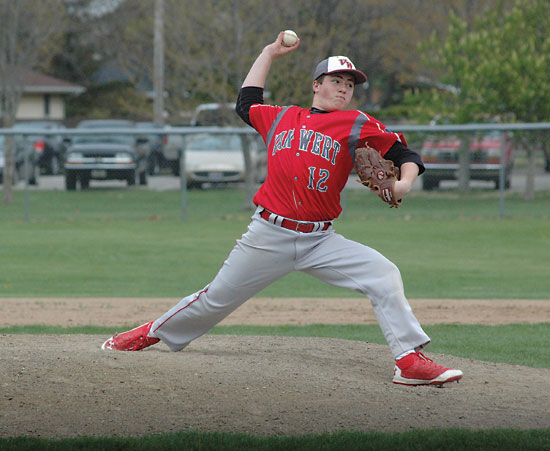 Van Wert freshman Caleb Fetzer delivers a pitch during the first inning of the Cougars' 9-1 loss to Celina on Friday night. Fetzer was making his first varsity start and held the Bulldogs to one hit in 4.1 innings of work, but took the loss. (Times Bulletin/John Parent)