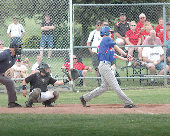 Crestview's Mitchell Rickard lines a single into right-center with this swing during the D-IV regional semi-final on Thursday. Rickard went 1-for-3 and scored a run in the Knights' win. (dhi MEDIA/Daniel Joseph)