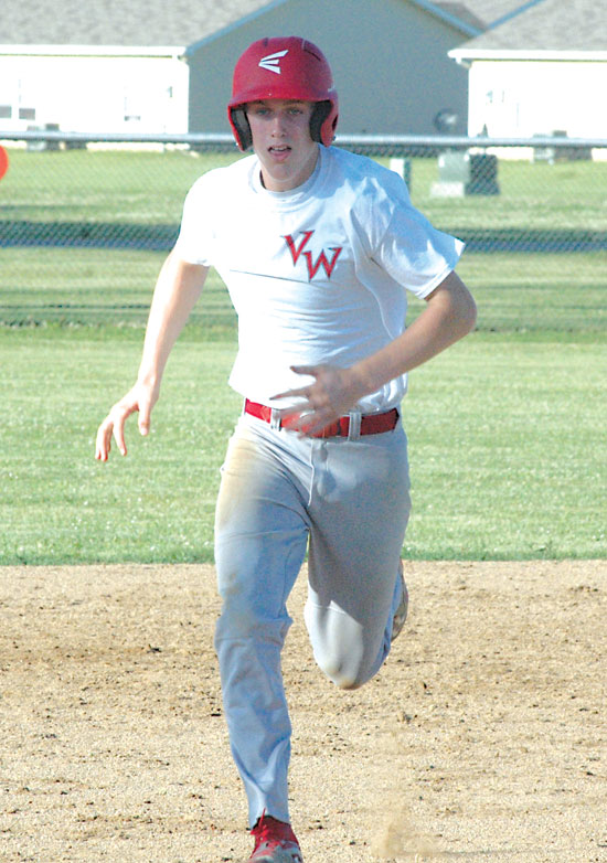 Van Wert's Josh Braun sprints toward third base, advancing on an errant pick-off attempt. Braun would later score on a sacrifice fly to the first baseman. (DHI Media/John Parent)