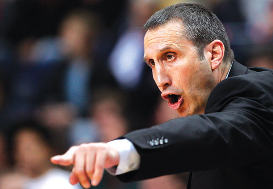 FILE - In this Nov. 7, 2013, file photo, Maccabi Electra Tel Aviv coach David Blatt gestures to his players during their Euroleague basketball match. The Cavs offered Blatt its coaching job Thursday night. (AP Photo/Mindaugas Kulbis, File)