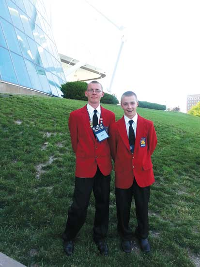 Vantage students Ben Schnipke (left) and Austin Stuckey (right) pose for a picture during the Skills USA competition in Kansas City last week. (Submitted photo)