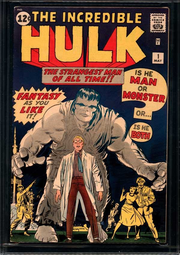 This undated image provided by ComicConnect.com shows a a nearly mint 1962 copy of the first Incredible Hulk comic book. It is being actioned online along with a 1939 copy of Detective Comics, which featured one of the earliest appearances of Batman and a 1942 Archie comic book, Archie No. 1, which marked the first time the red-headed character appeared in his own magazine. (AP Photo/ComicConnect.com)