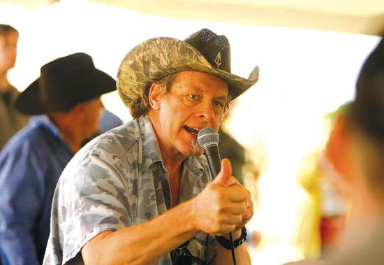 Rock star and activist Ted Nugent speaks to an enthusiastic crowd at the annual Big Horn Basin TEA Party Picnic on Saturday in Emblem.