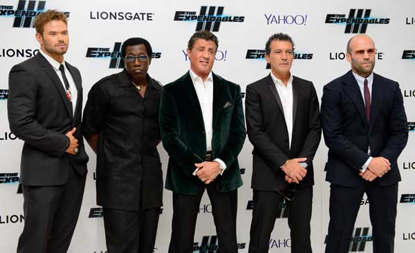 From left, U.S actors Kellan Lutz, Wesley Snipes, Sylvester Stallone, Spanish actor Antonio Banderas and British actor Jason Statham arrive for the World Premiere of The Expendables 3 at a central London cinema, Monday, Aug. 4, 2014. (Photo by Jonathan Short/Invision/AP)