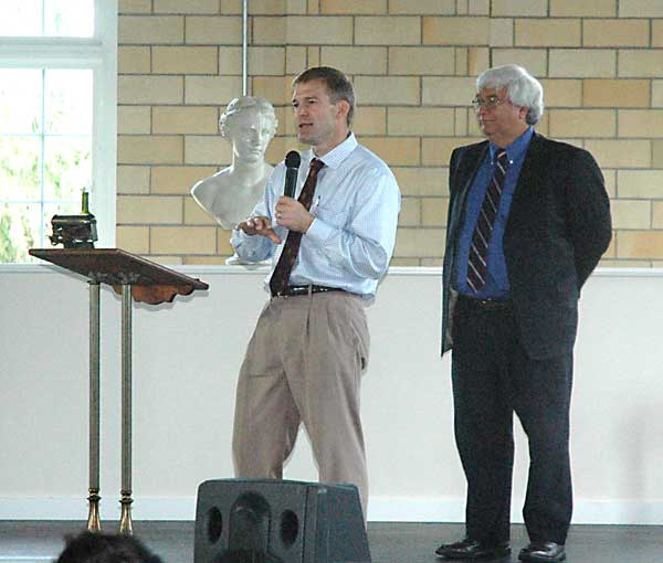 Rep. Jim Jordan (right) of Ohio's 4th Congressional District was the featured speaker of the Van Wert County Republican Party on Friday at the Wassenberg Art Center. Above, Jordan answers questions while county G.O.P. Central Committee Chairman Martin Burchfield watches. (DHI Media/Ed Gebert)