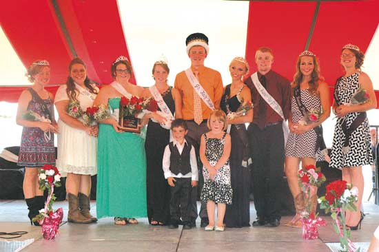 The 2014 Jr. Fair King and Queen and court were crowned Sunday night at the Van Wert County Fairgrounds. Fair Queen Sophie Wilson (fourth from left) and Fair King Jon Germann (fifth from left) will preside over the 158th annual Van Wert County Fair. Runners-ups named were Taylor Hughes (third from left) and Cody Keirns (third from right). (DHI Media/Ed Gebert)
