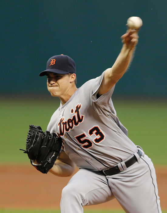 Detroit Tigers starting pitcher Kyle Lobstein delivers in the first inning of a baseball game against the Cleveland Indians, Tuesday, Sept. 2, 2014, in Cleveland. (AP Photo/Tony Dejak)