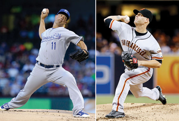 Giants' Hudson to face Royals' Guthrie in Game 3