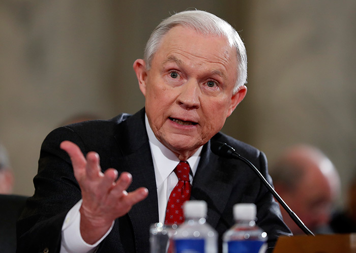 Attorney General-designate, Sen. Jeff Sessions, R-Ala., testifies on Capitol Hill in Washington, Tuesday, Jan. 10, 2017, at his confirmation hearing before the Senate Judiciary Committee. (AP Photo/Alex Brandon)