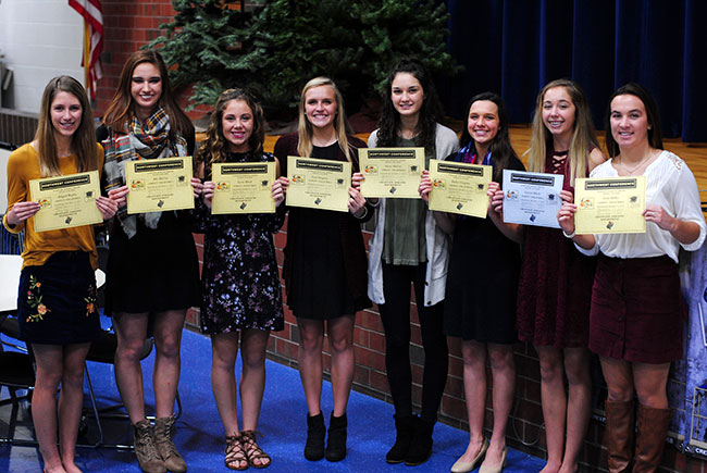 Crestview's volleyball scholar athletes show off their certificates at an awards banquet held recently. (Photo submitted)