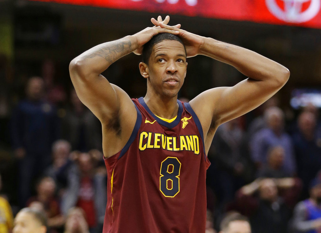 In this Nov. 5, 2017, file photo, Cleveland Cavaliers' Channing Frye reacts during an NBA basketball game against the Atlanta Hawks, in Cleveland. A person familiar with direct knowledge of the trade says the Cavaliers are dealing guard Isaiah Thomas to the Los Angeles Lakers. The person spoke to The Associated Press on condition of anonymity Thursday, Feb. 8, 2018, because the teams need NBA approval before the trade can be completed. The person adds that Cleveland is also sending forward Channing Frye and one of their two first-round draft picks to the Lakers for point guard Jordan Clarkson and forward Larry Nance Jr. (AP Photo/Tony Dejak, File)