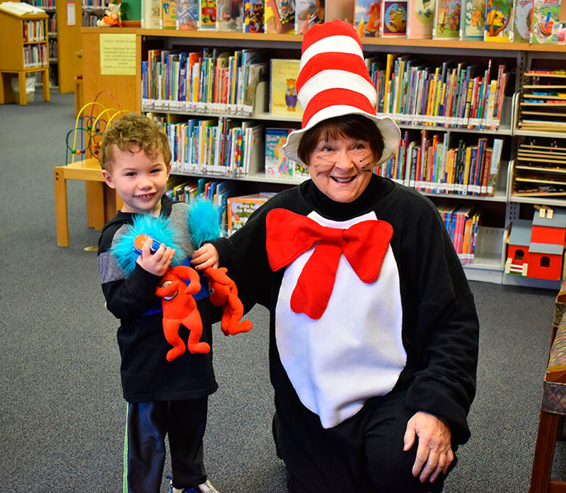AJ Ganger holds Thing 1 and Thing 2 beside the Cat in the Hat. Ganger has something in common with Dr. Seuss – they both have the same birthday! Ganger celebrated his 4th birthday yesterday. (DHI Media/Kirsten Barnhart)