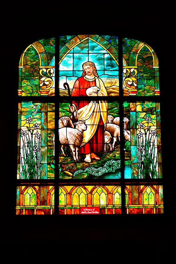 First United Methodist Church's Good Shepherd window (above) is one of the many windows that needed restored as it aged. The scene depicts John 10:11 which tells that Jesus is the good shepherd. (DHI Media/Kirsten Barnhart)