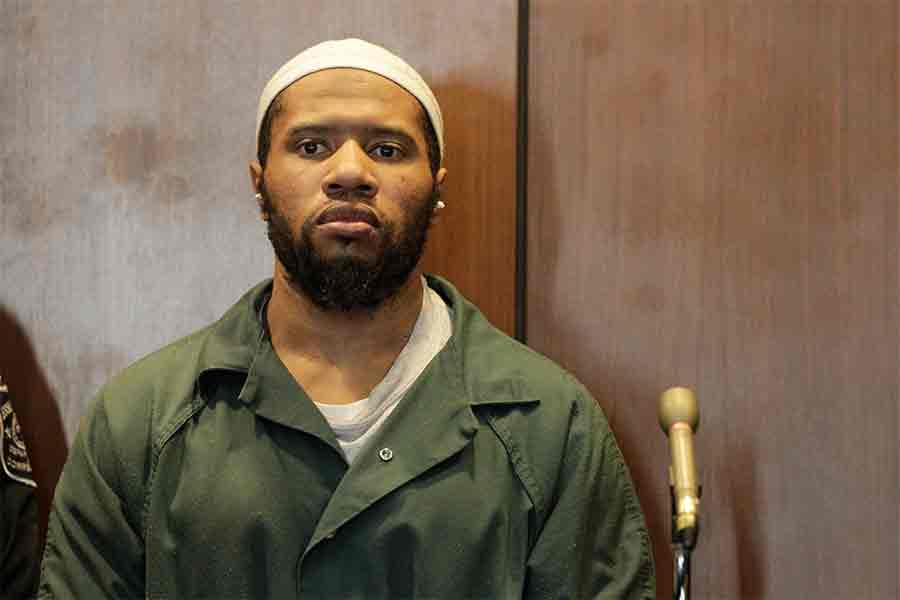In this Jan. 20, 2016, file photo, Ali Muhammad Brown, of Seattle, appears before New Jersey Superior Court Judge Ronald Wigler in Newark, N.J. The prosecutor's office in Essex County, N.J., said Tuesday, March 6, 2018, that Brown, accused of killing four people in two states in revenge for U.S. policy in the Middle East, has admitted fatally shooting 19-year-old college student Brandon Tevlin of Livingston, N.J., in June 2014, as Tevlin sat in his car at a traffic light in West Orange, N.J. Brown, a former Seattle resident who was the first person charged with terrorism connected to a homicide under a New Jersey state law, pleaded guilty to multiple counts including murder, felony murder, robbery and terrorism. (Patti Sapone/NJ Advance Media via AP, Pool, File)