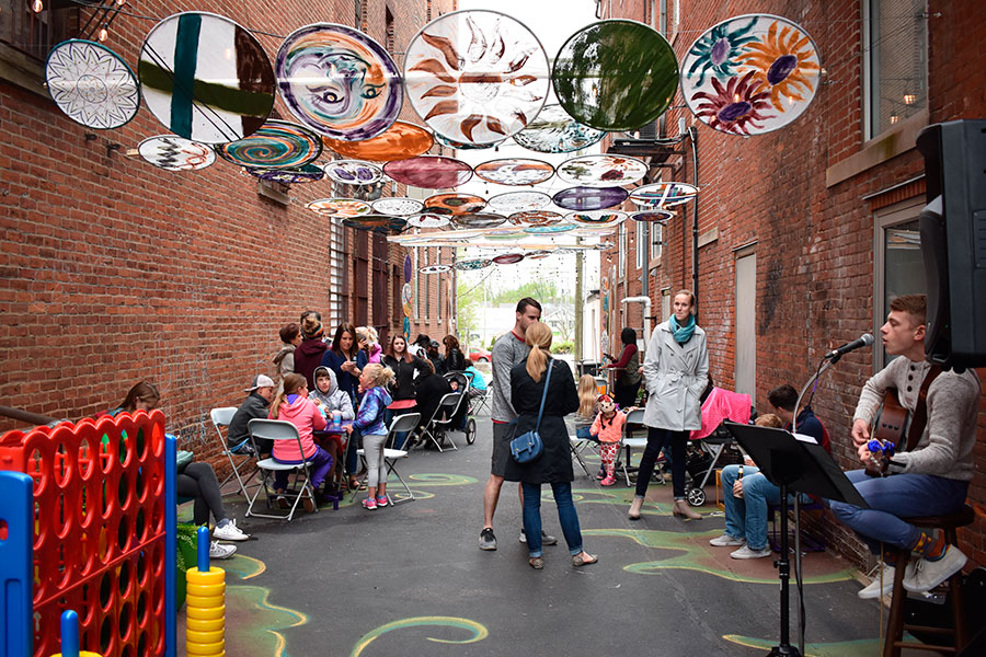The Former Mayor Eugene Bagley Alley features artwork, plants, lightning, and sitting areas for Van Wert citizens to enjoy. (DHI Media/Kirsten Barnhart)