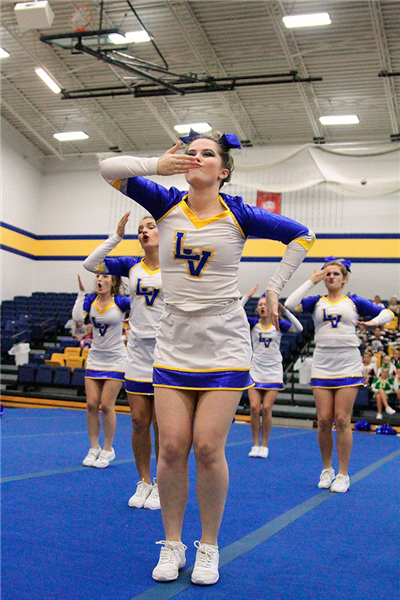 Pictured are Varsity Lancer cheerleaders. (Photo courtesy of Dena Martz)