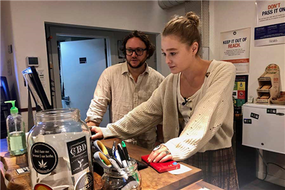 "In this photo taken Sept. 20, 2019, David Alport, owner of the Bridge City Collective marijuana dispensary in Portland, Ore., goes over sales numbers with the store's general manager Cameron Moore. The company has seen a 31% decrease in its sales of vaping products in the past two weeks. ""It's having an impact on how consumers are behaving,"" said Alport. ""People are concerned, and we're concerned."" (AP Photo/Gillian Flaccus)"