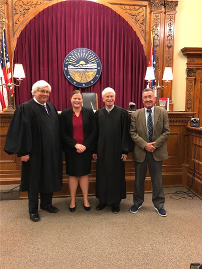 Pictured from left, Judge Martin Burchfield, General Division; Christina Steffan; Judge Kevin Taylor, Juvenile/Probate Division; and Joseph Quatman. (Photo submitted)