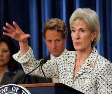 FILE - In this April 23, 2102 file photo, Health and Human Services Secretary Kathleen Sebelius gestures while speaking during a news conference at the Treasury Department in Washington. President Barack Obama's health care overhaul is unfolding as a national experiment with American consumers as the guinea pigs: Who will do a better job getting uninsured people covered, the states or the feds? (AP Photo/Susan Walsh, File)